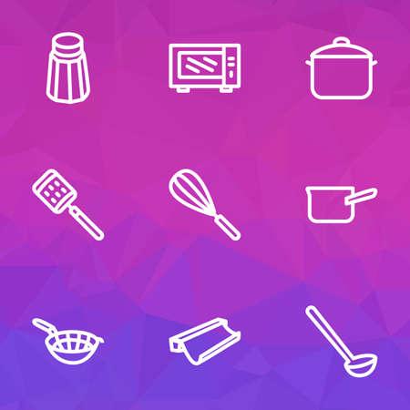 Kitchenware icons line style set with zester, salt, sieve and other grater   elements. Isolated vector illustration kitchenware icons.