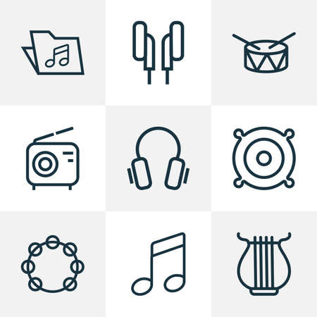 Multimedia icons line style set with speaker, notes, headphone and other template 