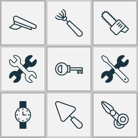 Tools icons set with chainsaw, watch, scissors and other cop cap  elements. Isolated vector illustration tools icons. Çizim