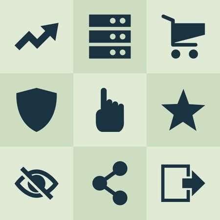 Icônes utilisateur définies avec panier, protection, déconnexion et autres éléments du centre de données. Icônes d'utilisateur d'illustration vectorielle isolée.