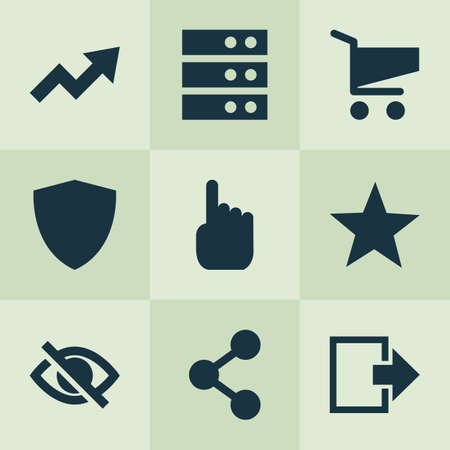 User icons set with cart, protect, log out and other datacenter