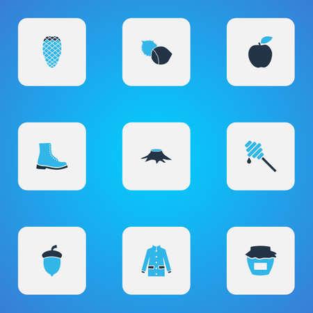 Seasonal icons colored set with coat, honey, apple and other timber   elements. Isolated  illustration seasonal icons.