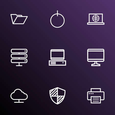 Computer icons line style set with internet, print, computer and other power 