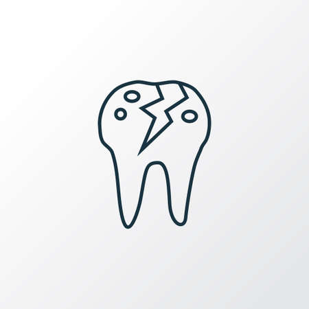 Cracked tooth icon line symbol. Premium quality isolated treatment element in trendy style. Standard-Bild - 111930245