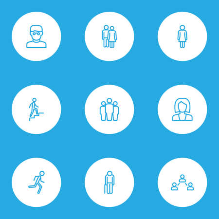 People icons line style set with stairs, lover, jogging and other smart man