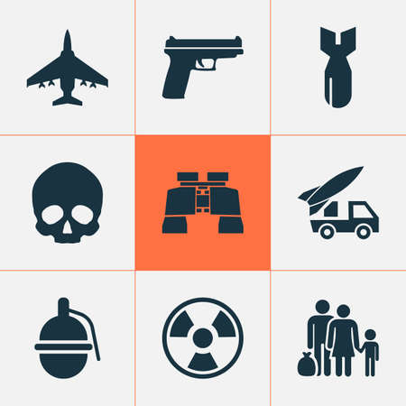 Army icons set with a gun, refugee, skull and other ordnance elements. Иллюстрация