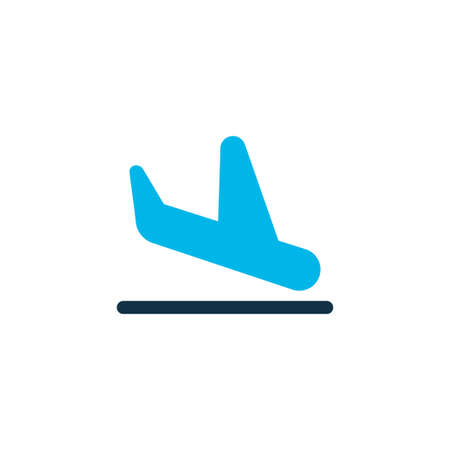 Plane landing icon colored symbol. Premium quality isolated airport element in trendy style. Çizim