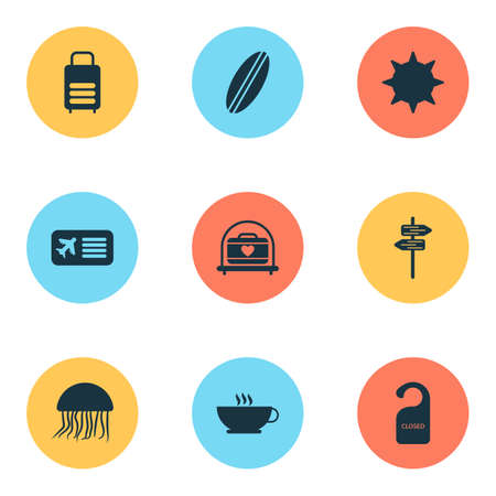 Journey icons set with suitcase, the sign is closed, airplane ticket and other luggage elements. Isolated vector illustration journey icons.