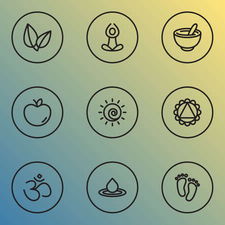 Meditation icons line style set with ornament, yoga, sun and other fruit elements.