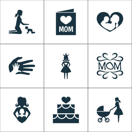 Mothers day icon design concept. Set of 9 such elements as post card, palms and design. Beautiful symbols for mother, heart and infant.