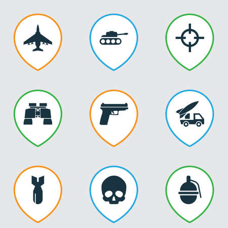 Battle icons set with artillery, bomb, sniper and other weapons elements.