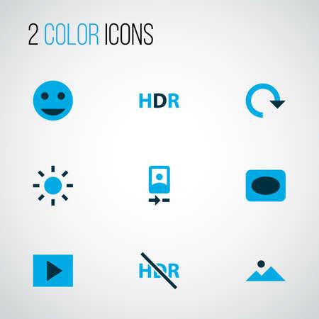Iconos de imagen coloreados con presentación de diapositivas, hdr, viñeta y otros elementos del marco. Foto de archivo