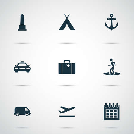 Traveling icons set with calendar, suitcase, anchor and other bag