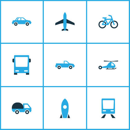 Shipment icons coloured set with train, car, rocket and other autobus elements. Illustration
