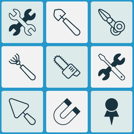 Apparatus icons set with chainsaw, destination, scissors and other screwdriver with wrench  elements. Isolated vector illustration apparatus icons.