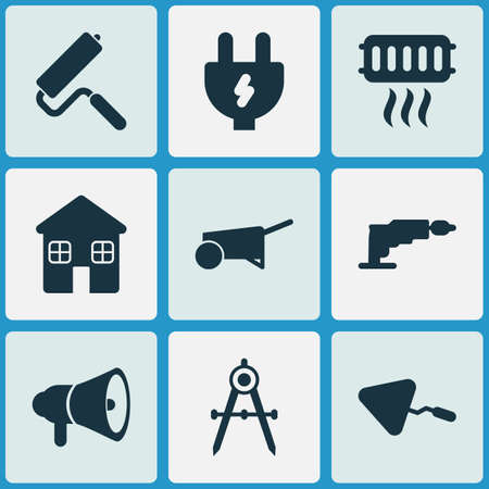 Construction icons set with cushion builder, screwdriver, horn and other megaphone  elements. Isolated vector illustration construction icons.