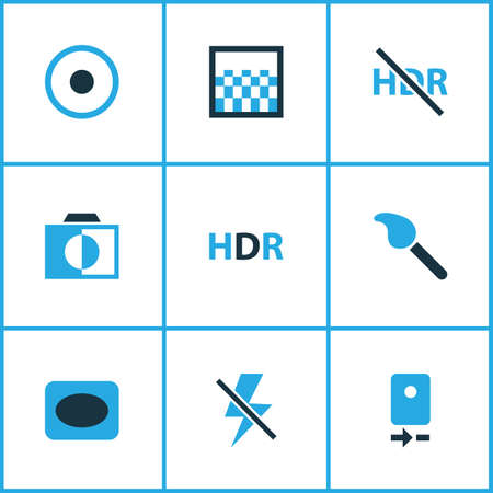 Image icons colored set with gradient, high dynamic range, adjust and other colorless