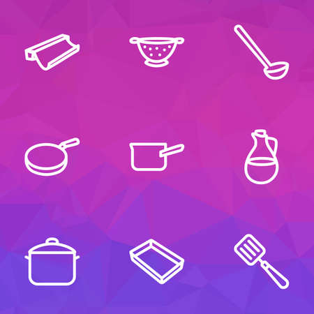 Dishware icons line style set with casserole, pan, ladle and other dishware   elements. Isolated vector illustration dishware icons.