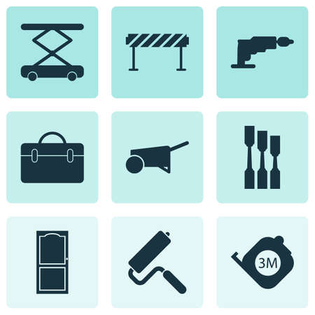 Construction icons set with construction hoist, roulette, barrage and other suitcase  elements. Isolated vector illustration construction icons.