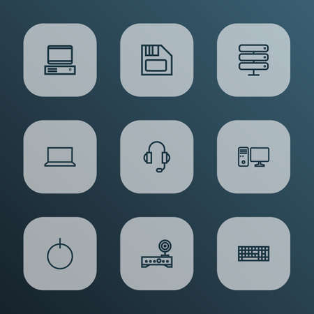 Hardware icons line style set with keyboard, headphones, start button and other datacenter   elements. Isolated vector illustration hardware icons.