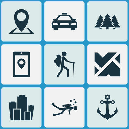 Journey icons set with city, pin, forest and other map