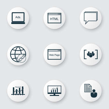 SEO icons set with focus group, keyword ranking, comprehensive analytics and other keyword optimisation