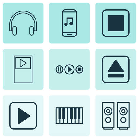 Audio icons set with stop music, music application, synthesizer and other player  elements. Isolated vector illustration audio icons.