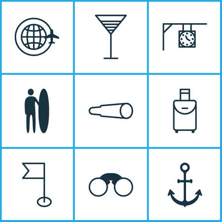 Travel icons set with around globe, street clock, flag and other surf-board elements. Isolated vector illustration travel icons.