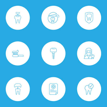 Dental icons line style set with tooth protection, dental implant, dental fillings and other caries
