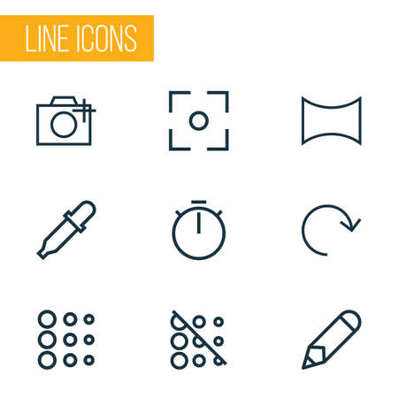 Photo icons line style set with angle, pen, refresh and other add a photo  elements. Isolated vector illustration photo icons.