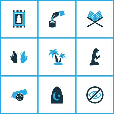 Religion icons colored set with muslim female, rug, islam and other prohibited  elements. Isolated vector illustration religion icons. Illustration