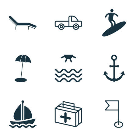 Travel icons set with sea, beach chair, beach umbrella and other boardsports