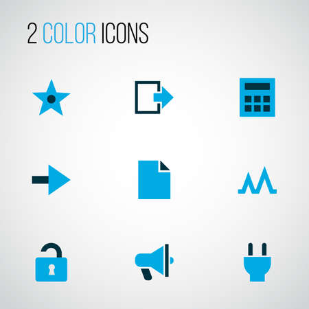 User icons colored set with calculator, exit, unlock and other open