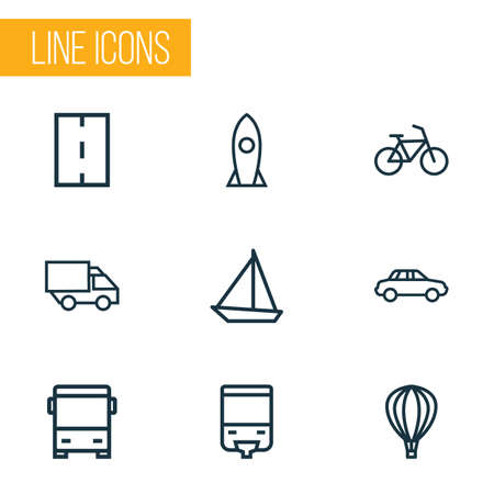 Transport icons line style set with way, monorail, missile and other bike