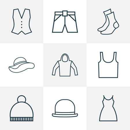 Dress icons line style set with underwear, panama, dress and other panama