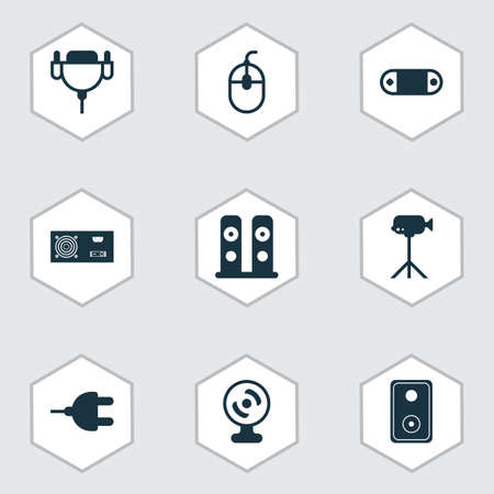Computer icons set with wireless speaker, audio speaker, monitor cable and other vga cord elements. Isolated vector illustration computer icons.