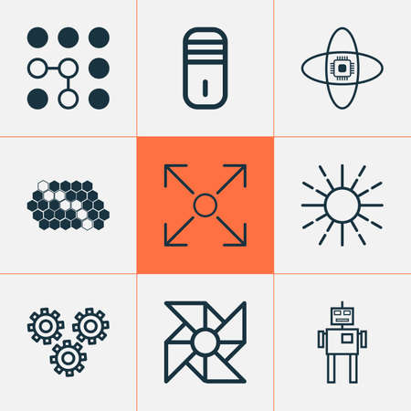 Machine icons set with cogwheels, brightness regulation, computer cooler and other laptop ventilator   elements. Isolated vector illustration machine icons.