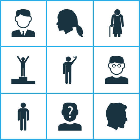Human icons set with winner, gentleman head, grandma gentleman
