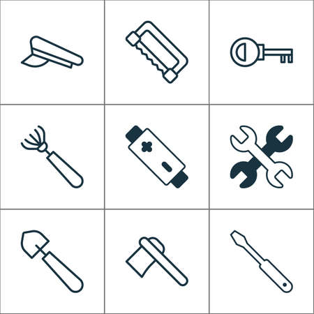 Equipment icons set with rake, saw, battery and other cop cap
