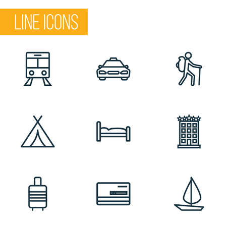 Exploration icons line style set with bed, hotel, valise and other taxi 