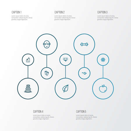 Yoga icons line style set with leaf, feet, elephant and other genie elements. Isolated vector illustration yoga icons.