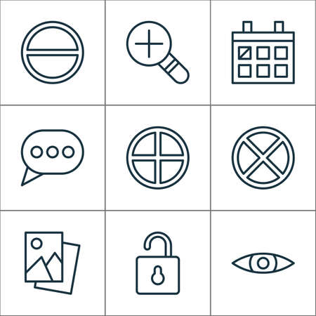 Web icons set with open lock, remove, messaging and other glance  elements. Isolated vector illustration web icons.