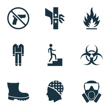 Sign icons set with flammable, boot, step up and other hair protection