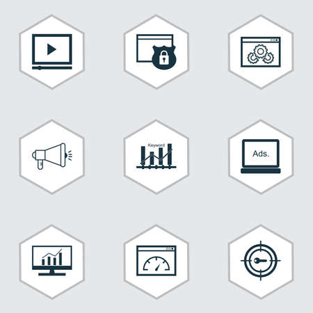 Advertising icons set with website protection, target promotion, display advertising and other video player elements. Isolated vector illustration advertising icons.