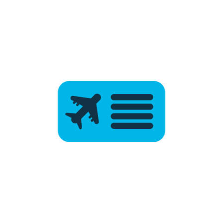 Airplane ticket icon colored symbol. Premium quality isolated airline pass element in trendy style.