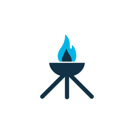 Grill icon colored symbol. Premium quality isolated barbecue element in trendy style.