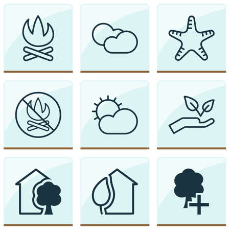 Ecology icons set with cloudy weather, sunny weather, no bonfire and other house