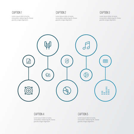 Audio icons line style set with vinyl, notes, speaker and other circle   elements. Isolated  illustration audio icons. 写真素材