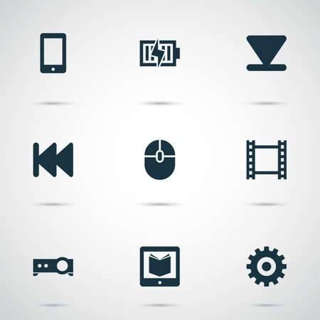Music icons set with learning, arrow down, projector and other film