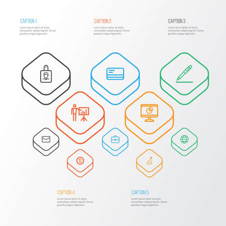 Business icons line style set with payment, envelope, presenting man and other identification elements. Isolated vector illustration business icons.